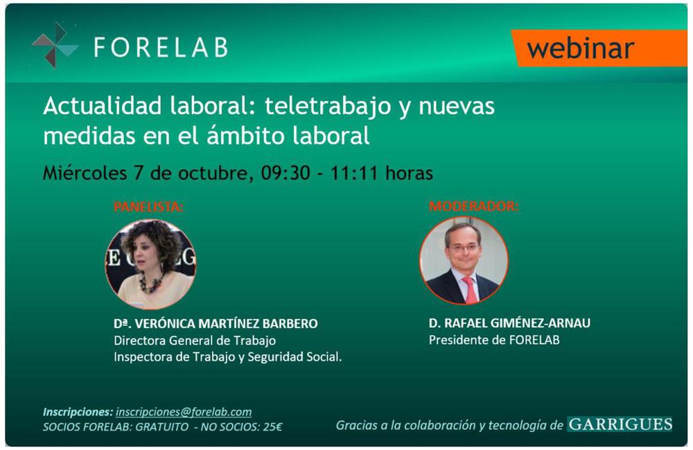 Webinar Forelab: Encuentro con la Directora General de Trabajo. Miércoles 7 de Octubre.