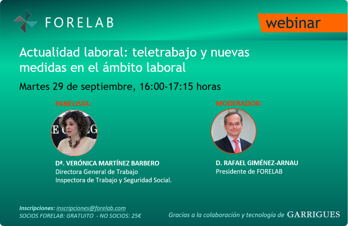 Webinar Forelab: Encuentro con la Directora General de Trabajo. Martes 29 de septiembre.